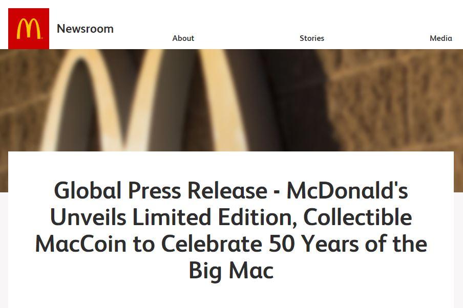 マクドナルド 仮想通貨